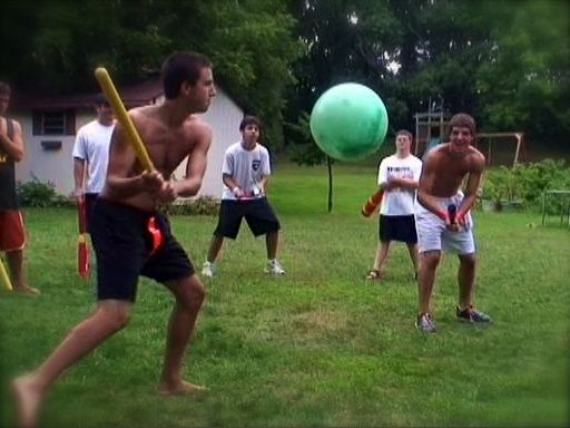Backyard games with plastic wiffle ball bats and large rubber playballs by Hedstrom, Ball Bounce and Sport, Inc. Jake Panzer, Ben Saxton, Benjamin Saxton, Brendon Jones, Thomas Kunkel, Hilsen.