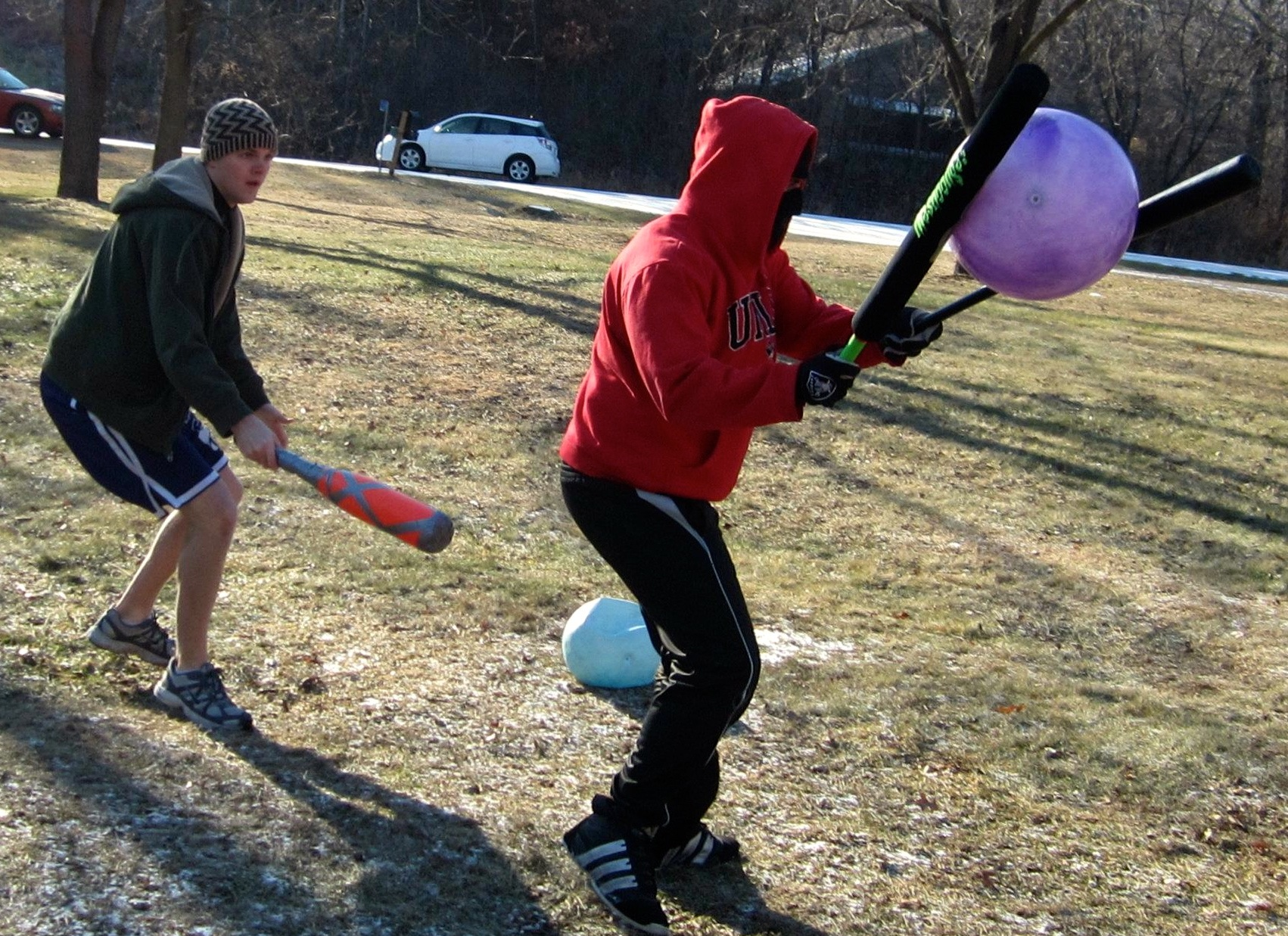 Obscure games, obscure sports, dodgeball with bats. Eric Franzen and Michael Polzin.