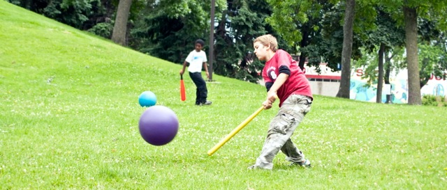 A game for all ages, a sport for all peoples. Whiffle ball bats and big rubber balls.