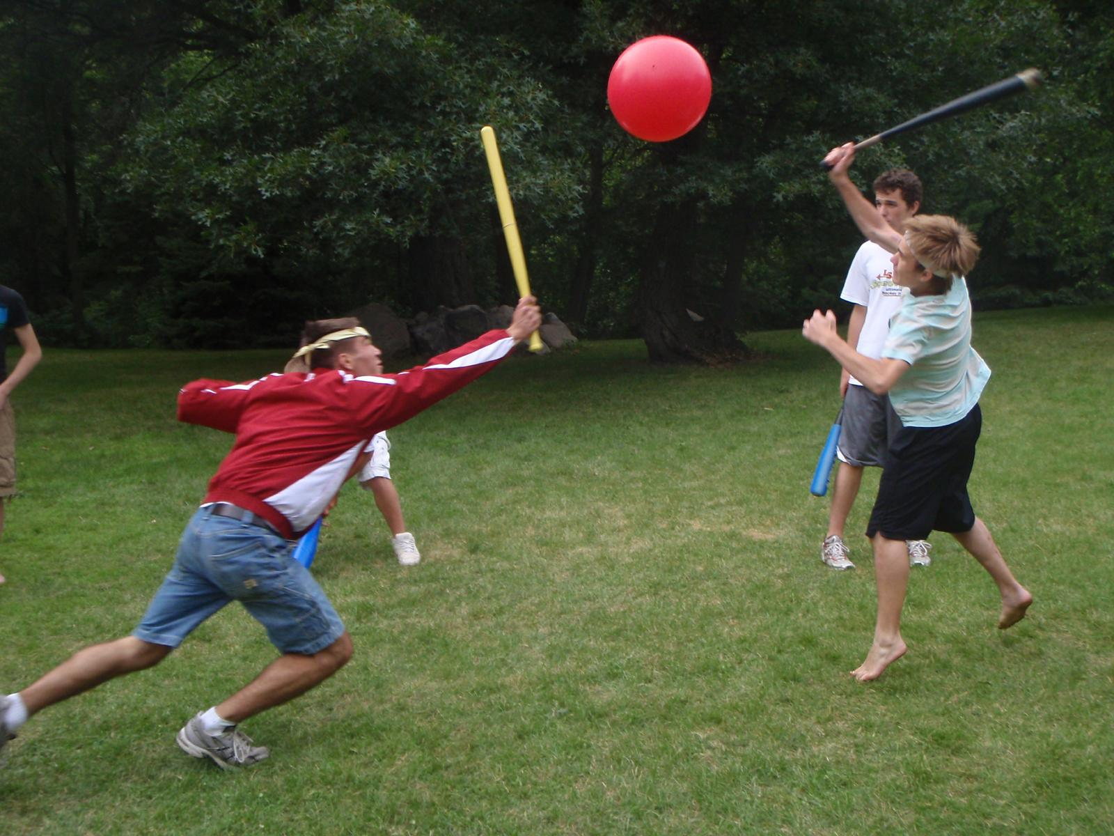 Johnball, a recently invented sport. Cody Troop vs. Ben Christiansen with onlooker Chris Borgen.