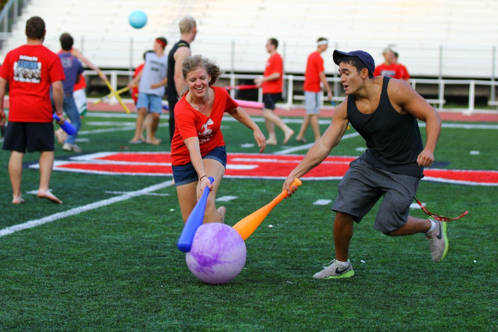 SJU Football field, student club and activity, JEC presents Johnball with Lisa Knapek,  Matthew Pendleton, Adam Kunkel, Garrett Zeltinger. Photo by Genavieve Lawler.