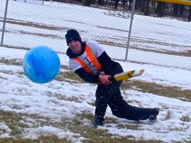 Johnball as a recreational outdoor winter sport/game/funtivitiy starring Carson Mack in Eureka, Illinois.