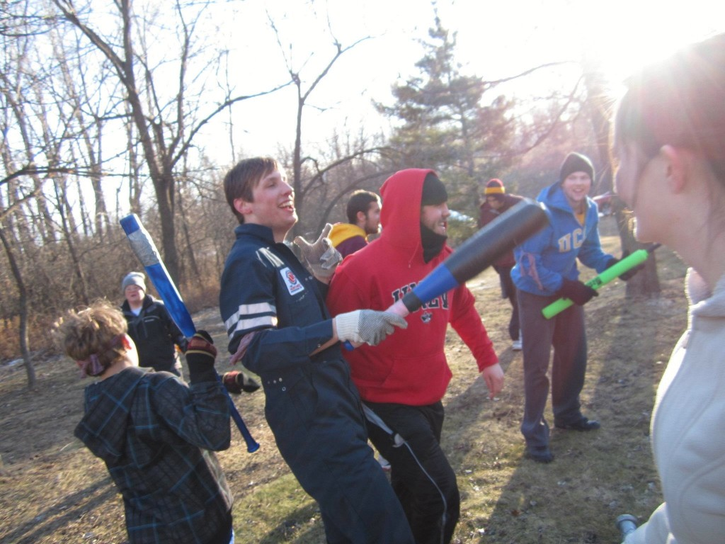 In Lakeville MN, friends gather in celebration of the new invented sport, created by John Hilsen. A moment of victory.