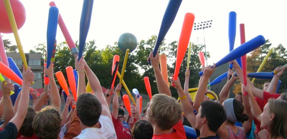 Plastic bats, kids vinyl playballs from Hedstrom Toys, it's extreme dodgeball.