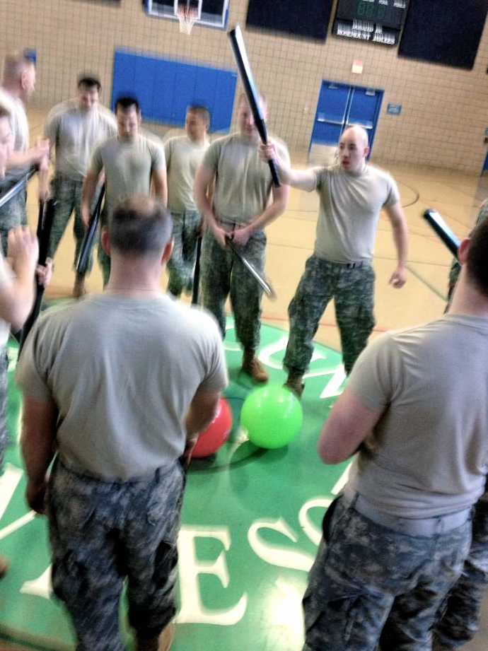 The Military drills, trains, gets into shape with an obscure sport.