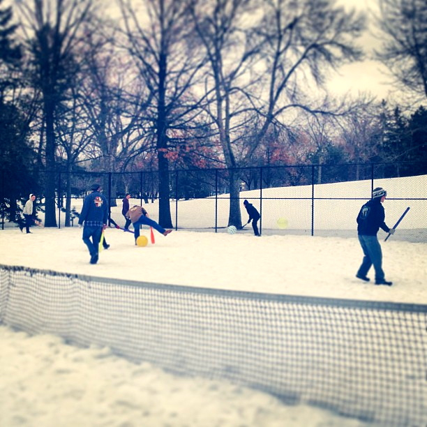 In the Twin Cities, a whole lotta twentysomethings play Johnball, an obscure sport in the vein of outdoor dodgeball. A scene from Minnesota public parks in winter.