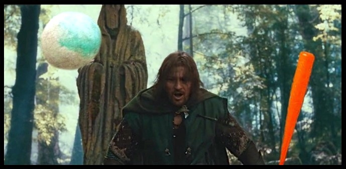 Boromir's death, a hero's death, at Amon Hen. Wearing the elven brooch and holding an orange Nerf bat.