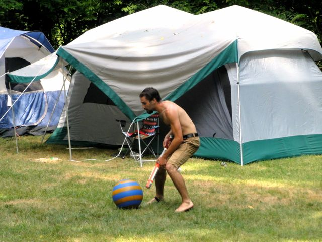 Camping and the sporting life in the great outdoors. Nice big tent you got there, Cody Troop.