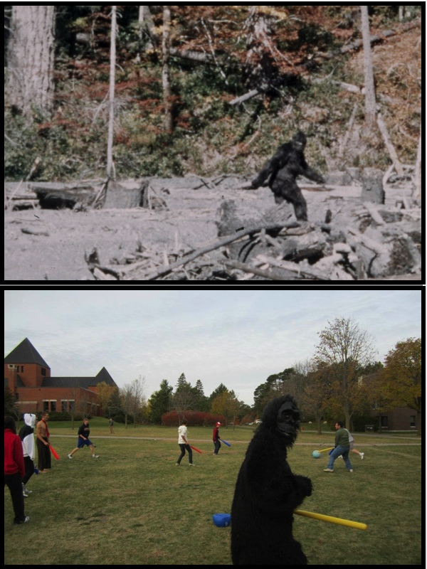 Recent Bigfoot sighting! At Collegeville, MN - SJU. Sasquatch is one creepin' lover of all thigns Johnball.